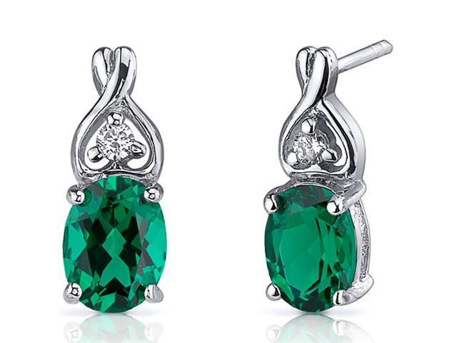 2.00 Ct. Oval Shaped Created Emerald Earrings in Sterling Silver Rhodium Finish