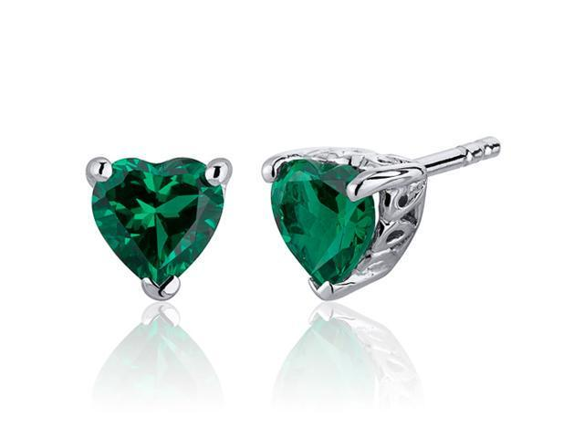 Oravo 1.50 Carats Emerald Heart Shape Stud Earrings in Sterling Silver Rhodium Finish