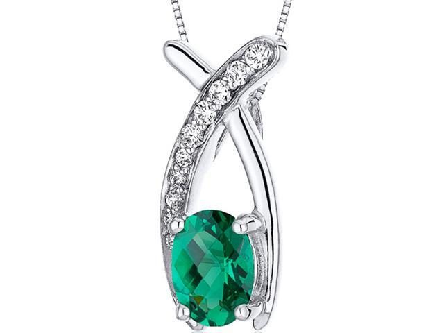 Oravo Lucid Elegance 0.75 carats Oval Cut Sterling Silver Rhodium Finish Emerald Pendant with 18 inch Silver Necklace