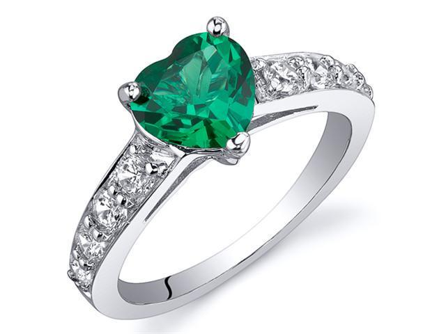 Dazzling Love 1.00 Carats Emerald Ring in Sterling Silver Rhodium Finish Available Sizes 5 to 9