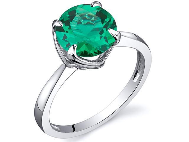 Sublime Solitaire 1.75 Carats Emerald Ring in Sterling Silver Rhodium Finish Available Sizes 5 to 9