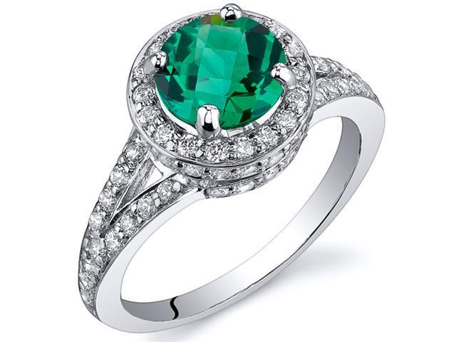 Majestic Sensation 1.25 Carats Emerald Ring in Sterling Silver Rhodium Finish Available Sizes 5 to 9