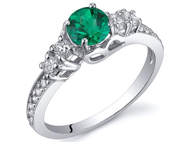 Enchanting 0.50 Carats Emerald Ring in Sterling Silver Rhodium Finish Available Sizes 5 to 9