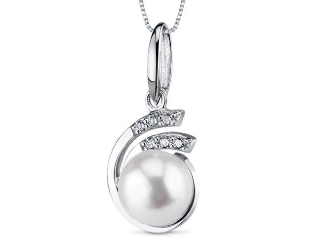 8.5mm Freshwater White Pearl Pendant in Sterling Silver