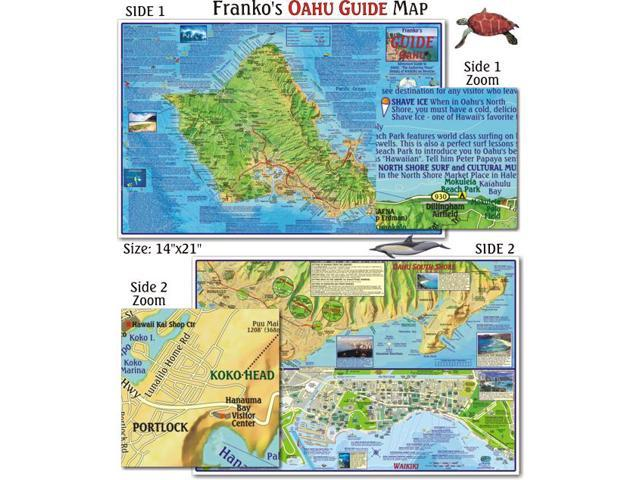 Franko Maps Oahu Guide Map for Scuba Divers and Snorkelers