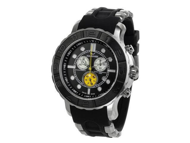 Aquaswiss 96XG051 Man's Chronograph Watch Swiss Rugged Collection Black and Black Bezel Stainless Case Rubber Strap