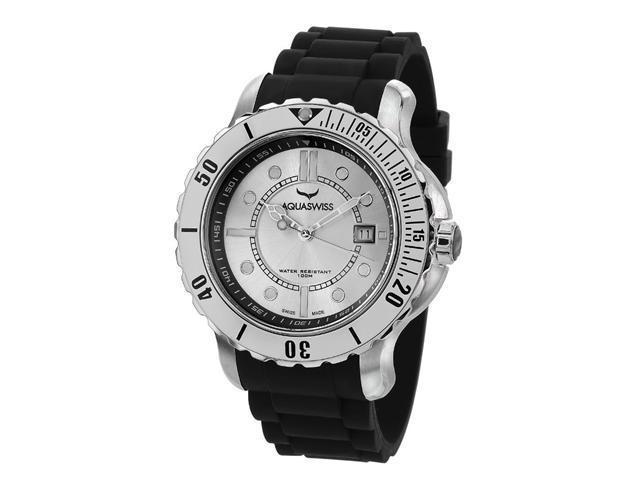 Aquaswiss 96G045 Rugged Man's Quartz Watch Stainless Steel Rubber Strap
