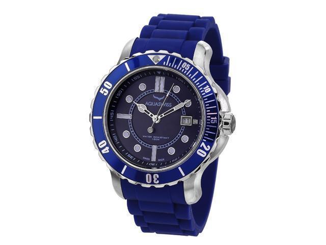 Aquaswiss 96G046Rugged Man's Quartz Watch Stainless Steel Rubber Strap