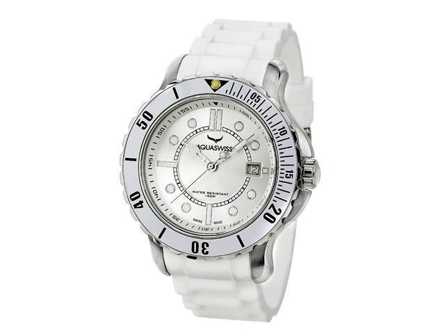 Aquaswiss 96G047 Rugged Man's Quartz Watch Stainless Steel Rubber Strap