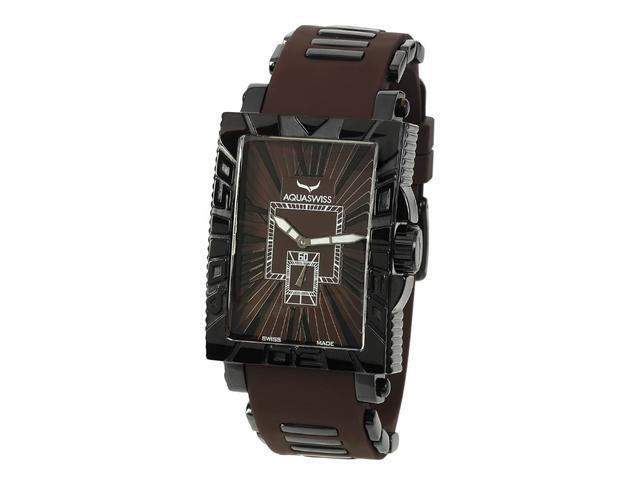 Aquaswiss 63G046 Anchor Man's Rectangular Curved Watch Black Ion Stainless Steel