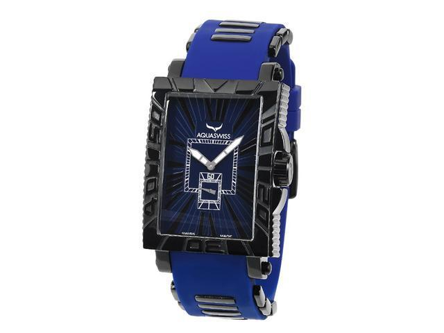 Aquaswiss 63G049 Anchor Man's Rectangular Curved Watch Black Ion Stainless Steel