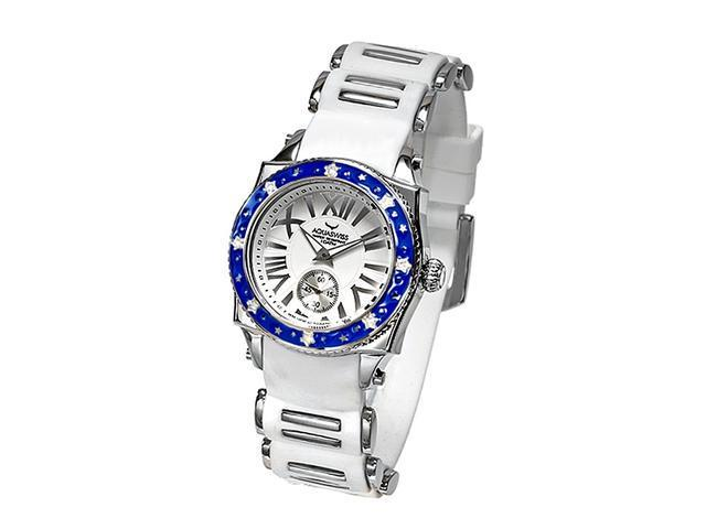Aquaswiss 62LD040 Swissport Ladies Star Watch with Diamonds White Rubber Strap