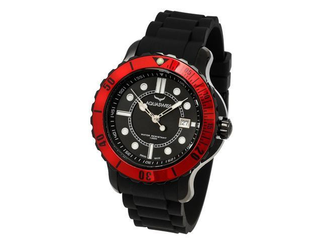 Aquasiss 96G033 Men's Quartz Watch Rugged Series Black Stainless Steel Case Black Rubber Strap