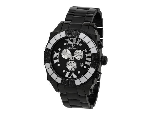 Aquasiss 62XGB001 Swissport  Diamond Men's Chronograph Watch Black Ion  Stainless Steel Case Black Stainless Steel Strap