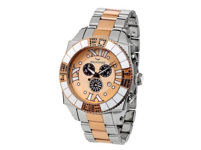 Aquasiss 62XGB003 Swissport  Diamond Men's Chronograph Watch Two Tone Rose Gold Plated Stainless Steel Case and Band