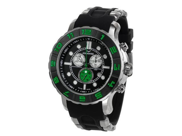Aquaswiss 96XG055 Man's Chronograph Watch Swiss Rugged Collection Black and Green Bezel Silver Case Rubber Strap