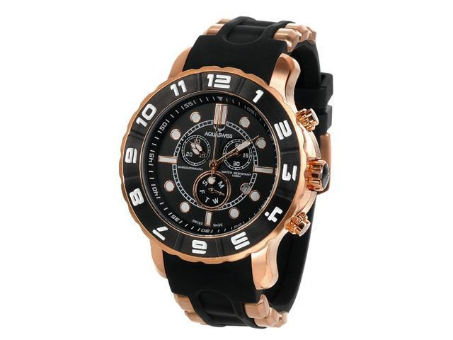 Aquaswiss 96XG017 Man's Chronograph Watch Swiss Rugged Collection Black and White Bezel Pink Gold Tone Case Rubber Strap