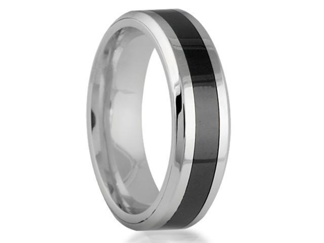8mm Cobalt Chrome Black Strip Center with High Polish Edges Finish Comfort Fit Wedding Band Ring