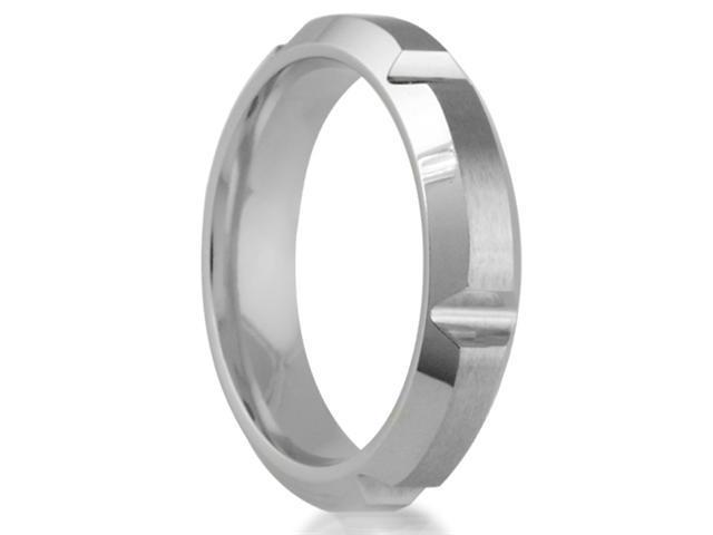 Cobalt 5mm Comfort Fit Men's Wedding Band Featuring a Satin Finish with Horizontal & Beveled Cut Sides