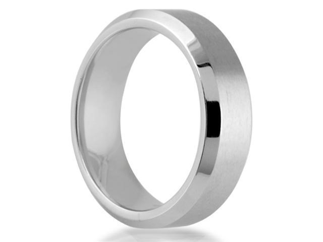 7mm Cobalt Chrome Beveled Edge Comfort Fit Wedding Band Ring