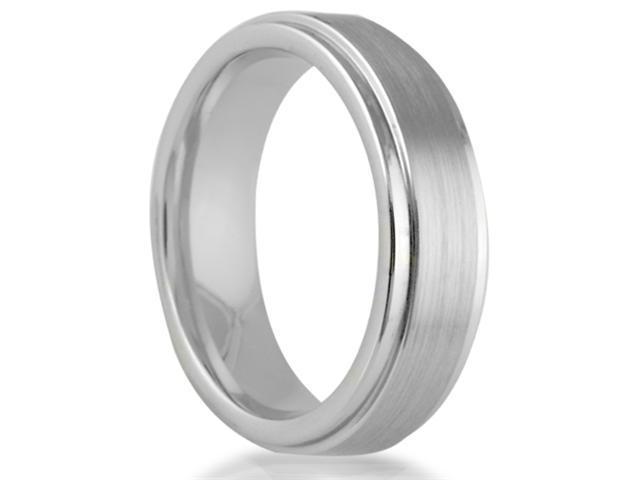 Cobalt 6mm Comfort Fit Round Edge Men's Wedding Band with Satin Center