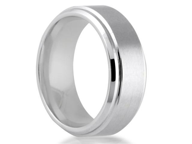 Cobalt 8mm Comfort Fit Round Edge Men's Wedding Band with Hammered Center Finish
