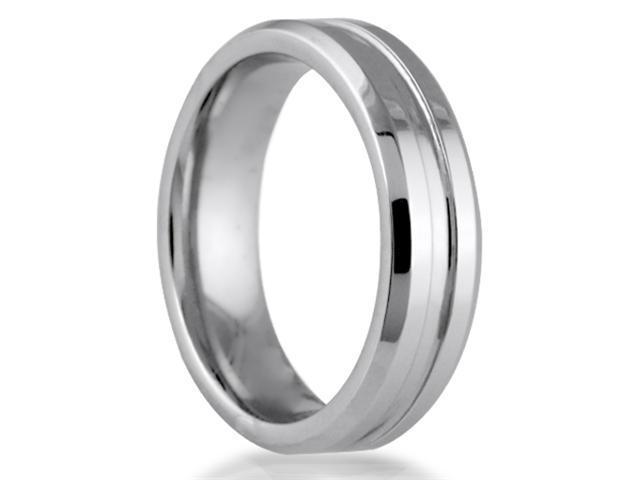 Cobalt 6mm Comfort Fit Men's Wedding Band with High Polished Center Cut & Beveled Cut Sides