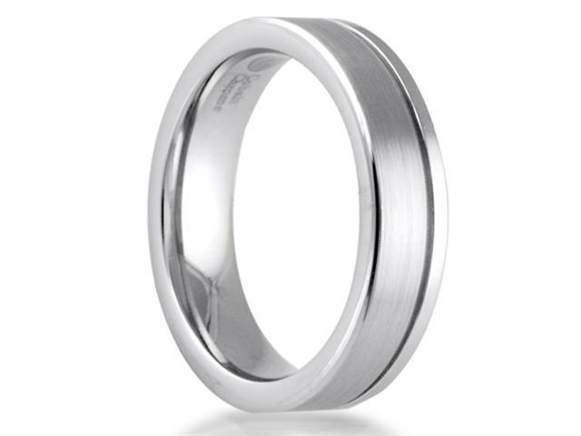 Cobalt Chrome 6mm Comfort Fit Men's Wedding Band with High Polished & Brushed Finish