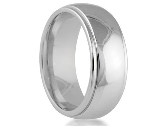 Cobalt 8mm Comfort Fit Round Edge Men's Wedding Band Featuring a High Polish Finish