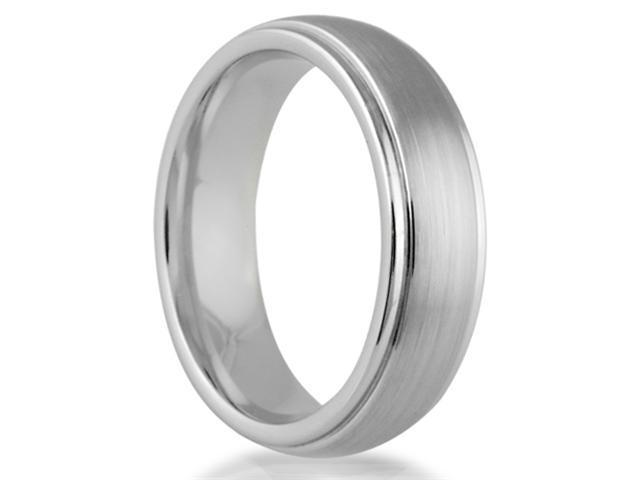 Cobalt Chrome 6MM Raised Brushed Center Wedding Band Ring with Hight Polised Edges