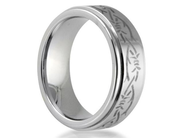 Cobalt Chrome 8MM  Barbwire Engrave Center Wedding Band Ring with High Polised Finish