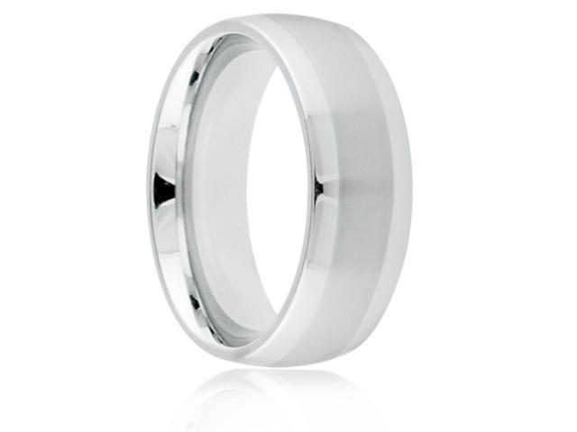 Titanium 8mm Dome Brushed Center Polished Comfort Fit Wedding Band