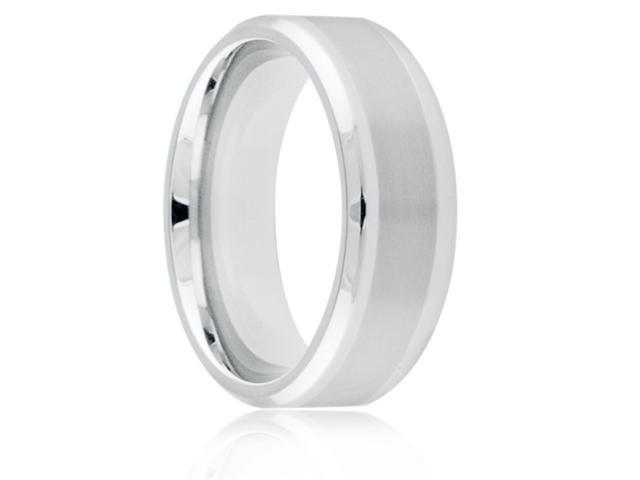 Titanium 8mm Beveled Edge Brushed Center Polished Comfort Fit Wedding Band