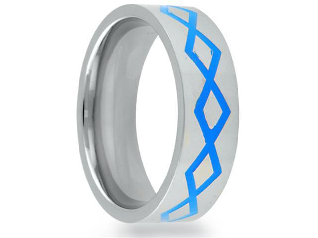 8mm Flat Titanium Band With A Grooved Blue Diamond Greek  Pattern