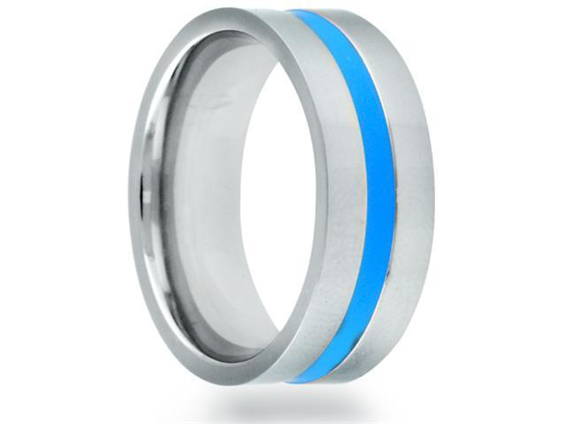 8mm Flat Titanium Band With A Blue Grooved Center Line