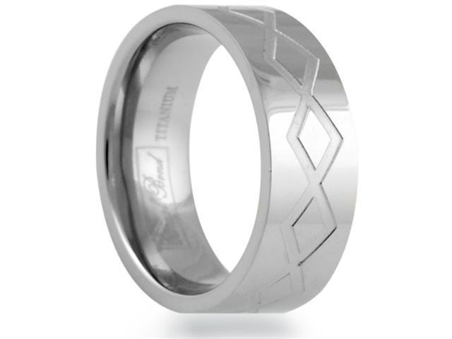 8mm Flat Titanium Band With A Grooved Diamond Greek Key Pattern