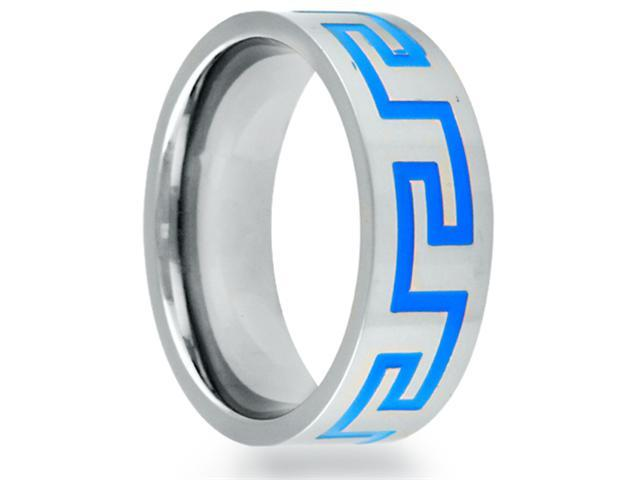 8mm Flat Titanium Band With A Blue Grooved Greek Key Pattern