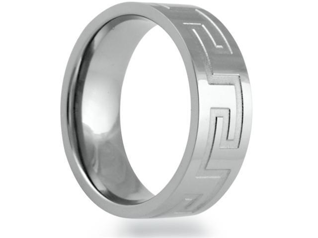8mm Flat Titanium Band With A Grooved Greek Key Pattern