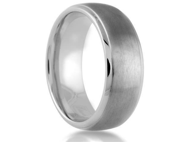 Titanium 8mm Wedding Band Brushed Center with Polished Beveled Edge Finish Comfort Fit Ring