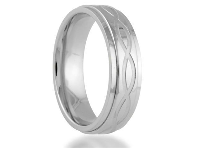Titanium 6MM INFINITY Symbol Engraved Center Wedding Band Ring Comfort Fit