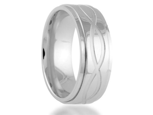 Titanium 8MM INFINITY Symbol Engraved Center Wedding Band Ring Comfort Fit
