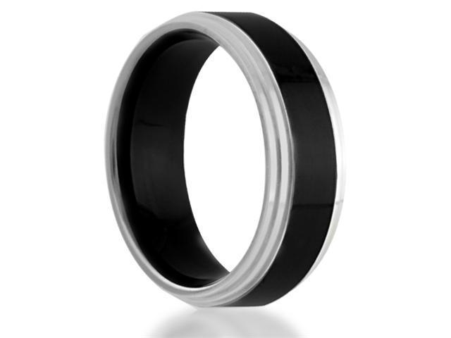7MM Black Titanium With Polished Edges Comfort-Fit Wedding Band Ring