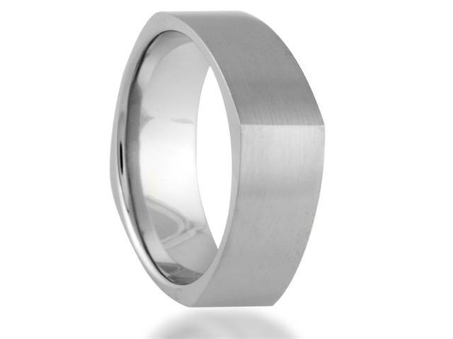 7MM Unique Soft Square Titanium Ring Wedding Band Comfort Fit