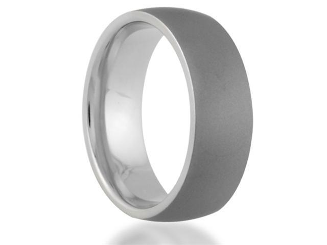 7MM Titanium Ring Dome Profile Sandblasted Wedding Band Comfort Fit