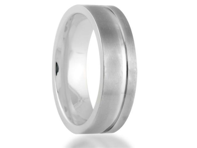 The Original 7MM Pinstripe Titanium Wedding Band Comfort Fit