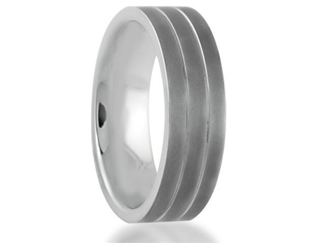 7MM Double Pinstripe Titanium Sandblasted Wedding Band Comfort Fit