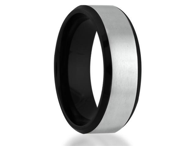 Brushed Titanium Wedding Band with Black Beveled Edge Comfort Fit Ring