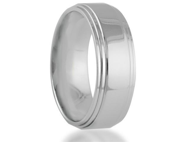 Men's Titanium Wedding Band Polished with 2 Step-Down Edges Comfort Fit Ring