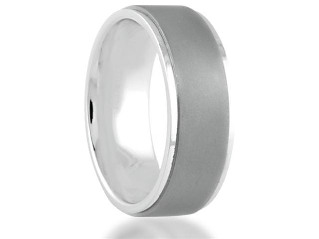 8MM Sandblast Titanium Wedding Band Step-Down Edged Comfort Fit