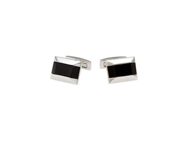 Stainless Steel Cuff Links with Onyx